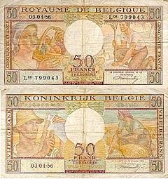 billet 50 francs 1956 Belgique