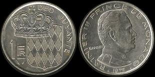 Piece 1 Franc Monaco Rainier Iii 1960 A 1995