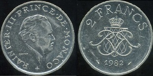 pi ce 2 francs rainier iii de monaco de 1979 1995. Black Bedroom Furniture Sets. Home Design Ideas