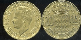 MONACO 20 FRANCS 1950